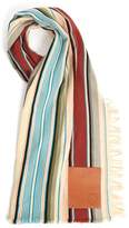 Loewe Leather-patch striped wool-blend scarf