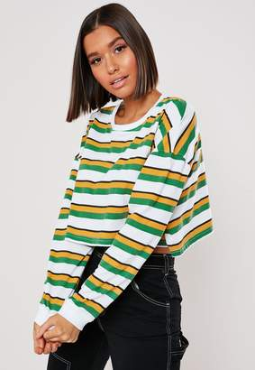 Missguided Green Stripe Drop Shoulder Crop Top