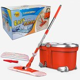 Woodsam Easy Wring Spin Mop Set - Flat Mop Head - Wet & Dry Double Cleaning System - 360° Rotation, Liquid Drain Hole