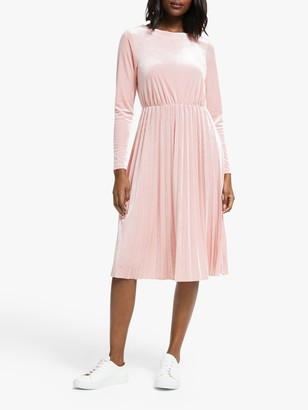 Nümph Nakotah Long Sleeve Velour Midi Dress, Adobe Rose