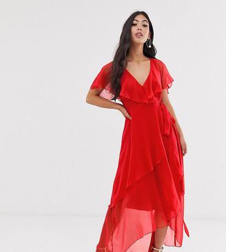Asos DESIGN Petite cape back dipped hem maxi dress-Multi