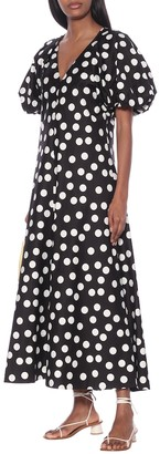 Lee Mathews Cherry polka-dot cotton maxi dress