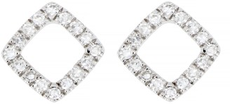 Carriere Sterling Silver Pave Diamond Open Square Stud Earrings - 0.11 ctw