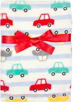 Cutie Pie Baby 30'' x 32'' Cream & Red Cars Velboa Stroller Blanket & Hanger