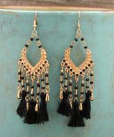Besheek BeSheek Women's Earrings BLACK - Goldtone & Black Three-Tassel Chandelier Drop Earrings