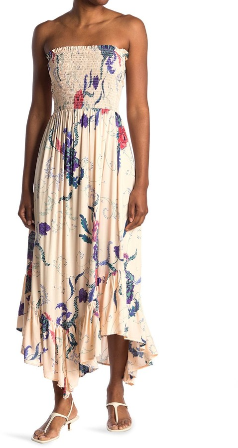 Thumbnail for your product : Angie Floral Strapless Smocked Maxi Dress