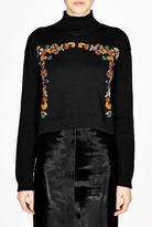 Suno Embroidered Knit Turtle Neck Jumper
