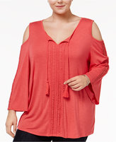 Style&Co. Style & Co Plus Size Cold-Shoulder Peasant Top, Only at Macy's