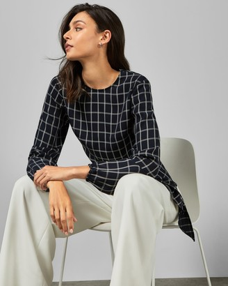 Ted Baker TOULAA Checked tie waist top
