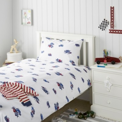 Grand Prix Bed Linen, White, Cot Bed