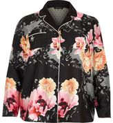 River Island Womens Plus black floral print pajama shirt