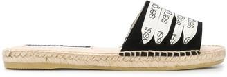 Sergio Rossi Logo Laces Espadrille Sandals