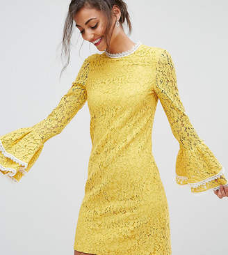 Little Mistress Tall All Over Contrast Shift Dress With Fluted Sleeve Detail-Yellow