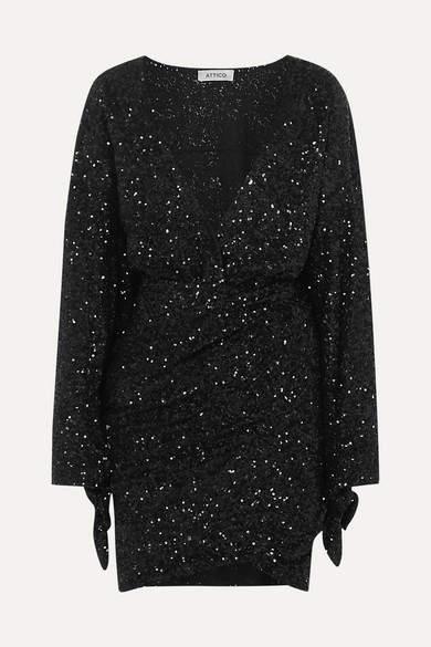 ATTICO Convertible Sequined Tulle Mini Dress - Black