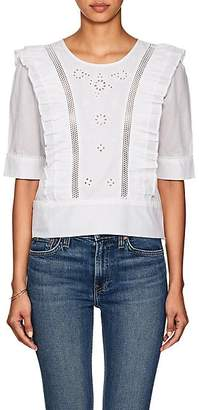 FiveSeventyFive Women's Embroidered-Eyelet Linen Boxy Top - White