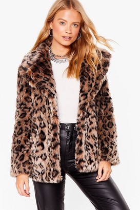 Nasty Gal Womens Can't Stop the Feline Faux Fur Leopard Coat - Natural