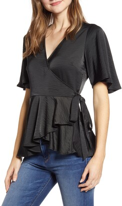Bobeau Angel Flutter Sleeve Wrap Blouse