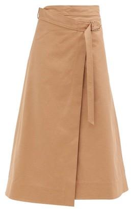 Gabriela Hearst Linda Cotton-drill Belted Wrap Skirt - Camel