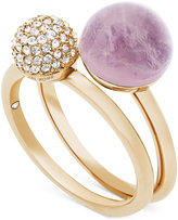Michael Kors Gold-Tone 2-Pc. Set Crystal Fireball and Purple Stone Stack Rings