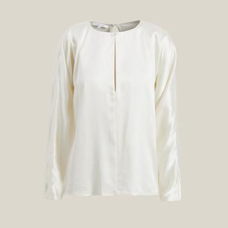 Yumi La Collection White Slit Neck Silk-Satin Blouse Size L