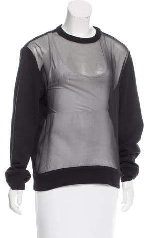 Givenchy Sheer-Paneled Oversize Sweatshirt