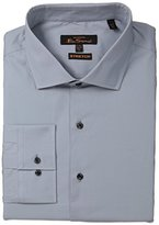 Ben Sherman Men's Solid Stretch Poplin Shirt with Spread Collar