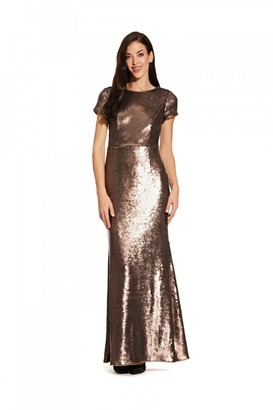 Adrianna Papell Sequin Mermaid Gown In Dark Mink