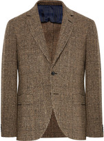 Mp Massimo Piombo - Brown Slim-fit Prince Of Wales Checked Slub Wool-blend Blazer