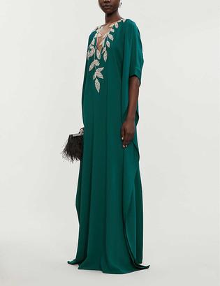 Oscar de la Renta Embellished floral-print silk-georgette gown