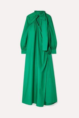 Rosie Assoulin Oversized Cutout Cotton-poplin Wrap Maxi Dress - Forest green