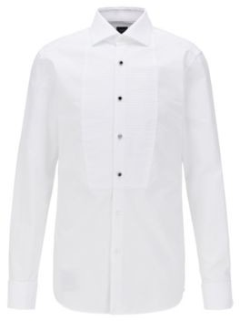 Slim-fit evening shirt in cotton with pleated bib