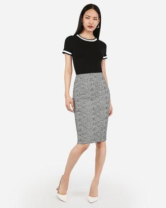 Express High Waisted Jacquard Pencil Skirt