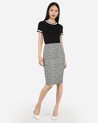 Express High Waisted Jacquard Pencil Skirt