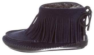 Tory Burch Fringe Moccasin Ankle Boots