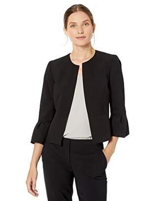 Nine West Women's Plus Size Bell Sleeve Open Front Crepe Jacket