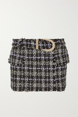 Balmain Belted Boucle-tweed Mini Skirt - Black