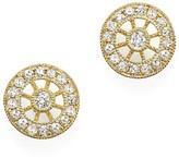Meira T 14K Yellow Gold Filigree Charm Stud Earrings with Diamonds