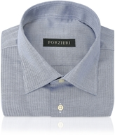Forzieri Blue Herringbone Dress Shirt