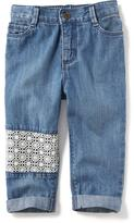 Old Navy Boyfriend Lace-Patch Capri Jeans for Toddler Girls