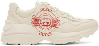 Gucci Beige Disc Print Rython Sneakers