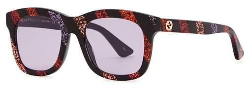 Gucci Glitter-striped Wayfarer-style Sunglasses