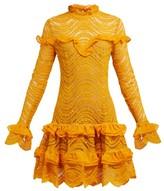 Jonathan Simkhai Ruffled Floral-lace Mini Dress - Womens - Yellow