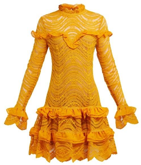 Jonathan Simkhai Ruffled Floral Lace Mini Dress - Womens - Yellow