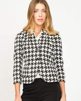 Le Château Houndstooth Inverted Collar Blazer