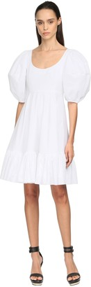 Alexander McQueen Cotton Poplin Mini Dress W/Puff Sleeves