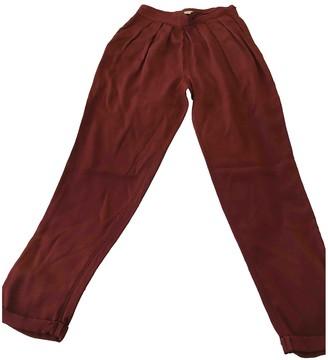 Whistles Burgundy Silk Trousers for Women