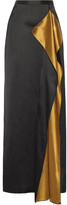 Rosetta Getty Draped Satin Maxi Skirt - Black