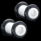 FreshTrends 8G (3mm) White Acrylic Tunnel Plugs / Earlet Ear Plugs - Pair