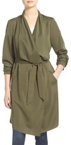 Kensie Women's Belted Drape Front Trench Coat