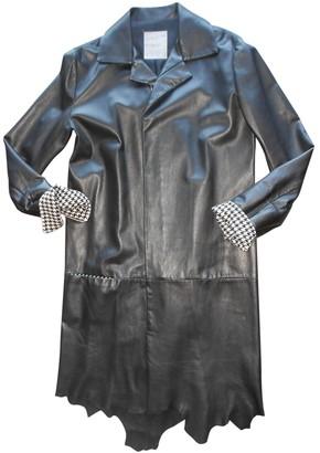 Yohji Yamamoto Black Leather Coat for Women Vintage